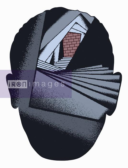 Stairs towards brick wall inside man's head - Stairs towards brick wall inside man's head - Otto Dettmer