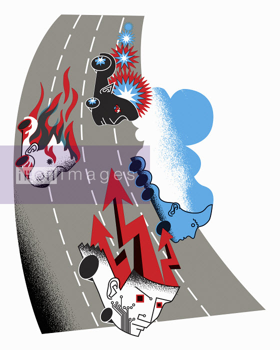 Speeding heads driving on race track - Speeding heads driving on race track - Otto Dettmer