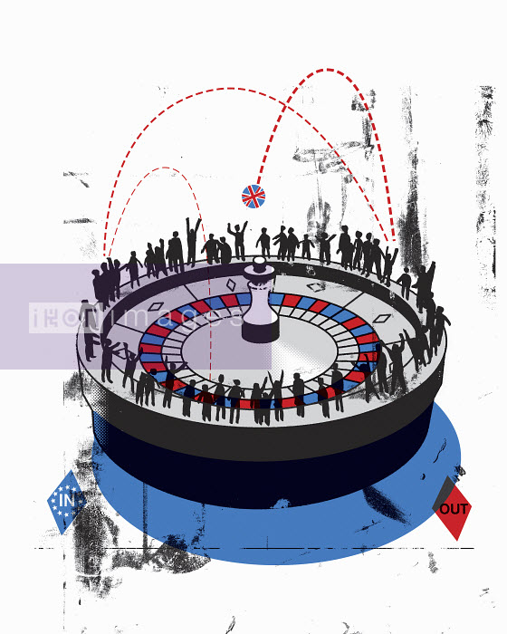 People standing around roulette wheel with Union Jack ball between in and out - People standing around roulette wheel with Union Jack ball between in and out - Otto Dettmer
