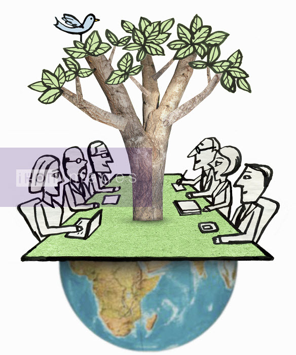 Business meeting with tree growing out of globe - Business meeting with tree growing out of globe - Roger Chouinard