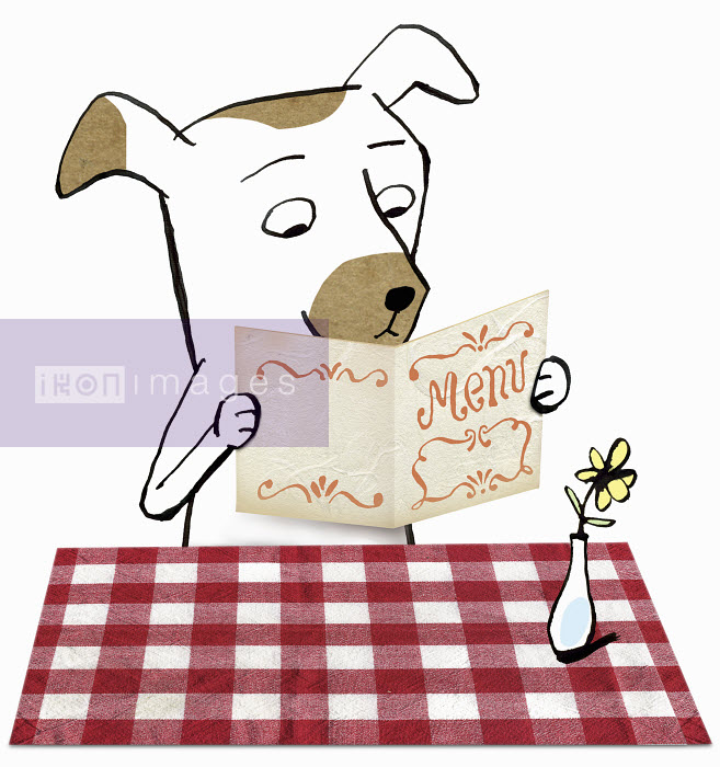 Dog in restaurant reading menu - Dog in restaurant reading menu - Roger Chouinard