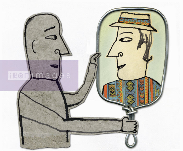 Man looking at different image in mirror - Man looking at different image in mirror - Roger Chouinard