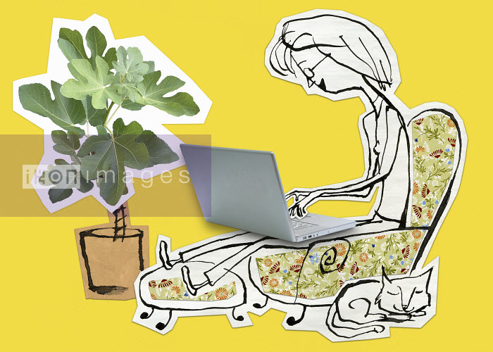 Woman sitting in armchair using laptop - Woman sitting in armchair using laptop - Roger Chouinard