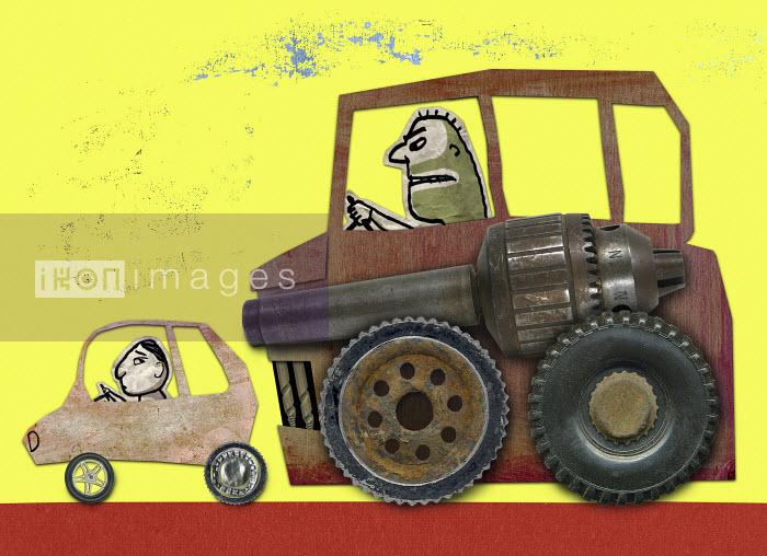 Man in big car bullying man in small car - Man in big car bullying man in small car - Roger Chouinard
