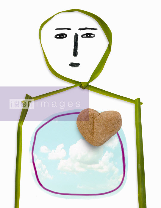 Person with stone heart and cloudy sky inside torso - Person with stone heart and cloudy sky inside torso - Roger Chouinard