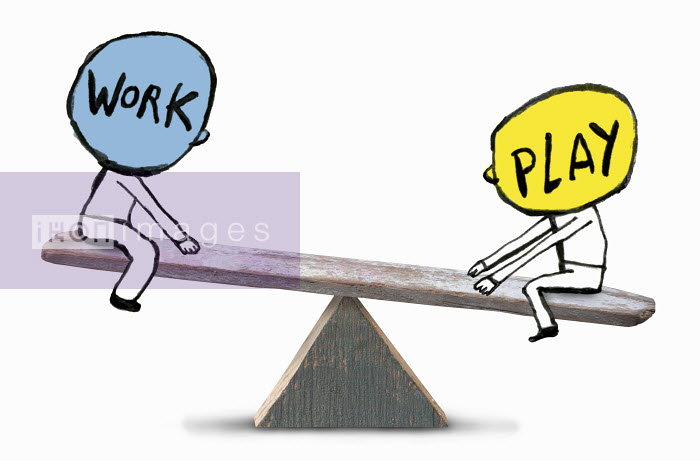 Two persons on seesaw balancing between work and play - Two persons on seesaw balancing between work and play - Roger Chouinard