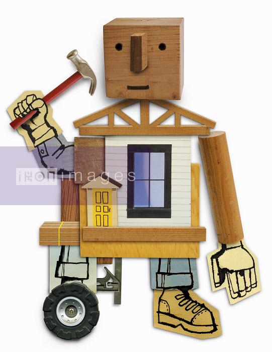 Humanlike builder working at house - Humanlike builder working at house - Roger Chouinard