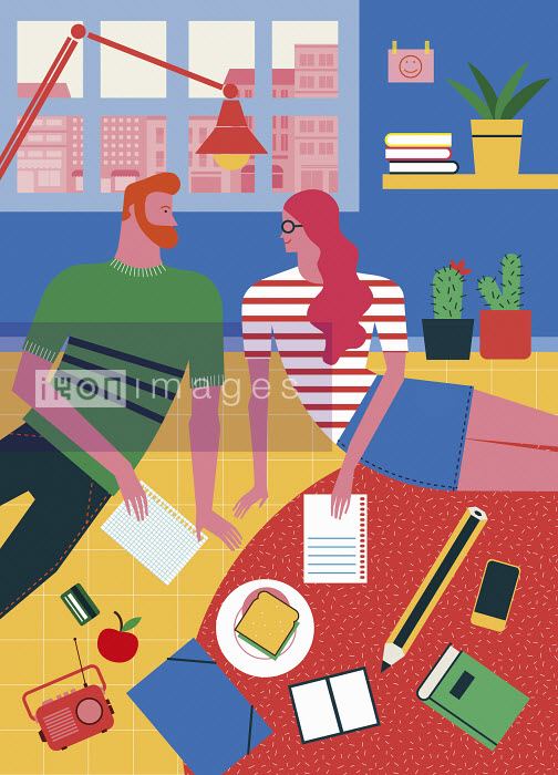 Hipster student couple learning at home - Hipster student couple learning at home - Verónica Grech