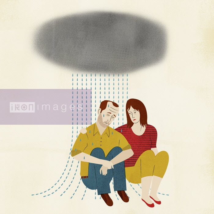 Woman trying to comfort crying man - Woman trying to comfort crying man - Mitch Blunt