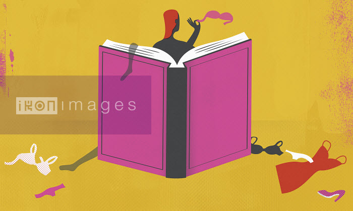 Woman undressing behind book cover - Woman undressing behind book cover - Mitch Blunt