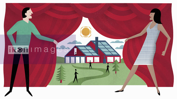 Man and woman revealing view to house with solar panels behind curtain - Man and woman revealing view to house with solar panels behind curtain - Mitch Blunt