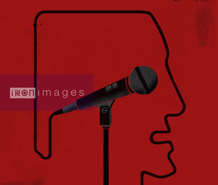 Outline of a head with microphone inside - Outline of a head with microphone inside - Mitch Blunt