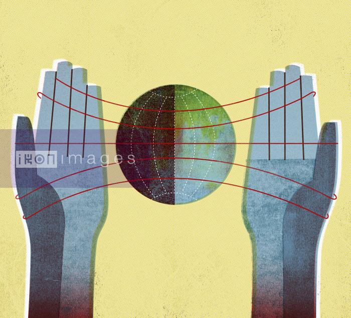Hand holding strings around globe - Hand holding strings around globe - Mitch Blunt