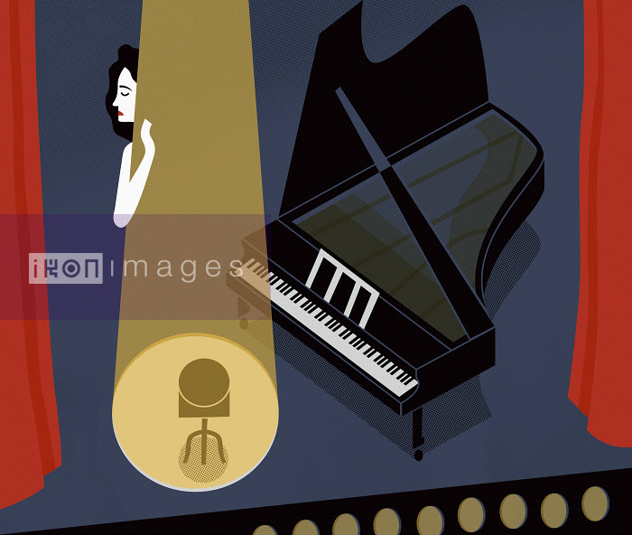 Female piano player having stage fright - Female piano player having stage fright - Mitch Blunt