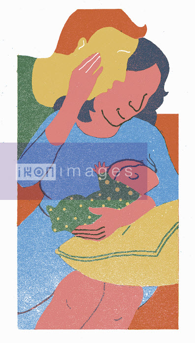 Mother with husband breastfeeding baby - Mother with husband breastfeeding baby - Sophie Casson
