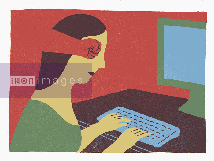Fist inside head of a woman using computer - Fist inside head of a woman using computer - Sophie Casson