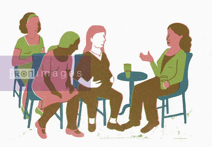 Group of women talking to pregnant friend - Group of women talking to pregnant friend - Sophie Casson