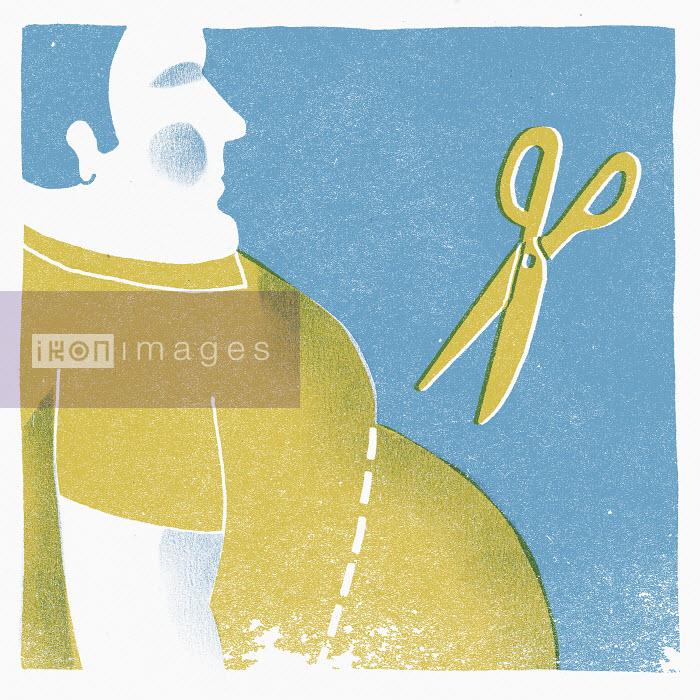 Scissors above obese man - Scissors above obese man - Sophie Casson