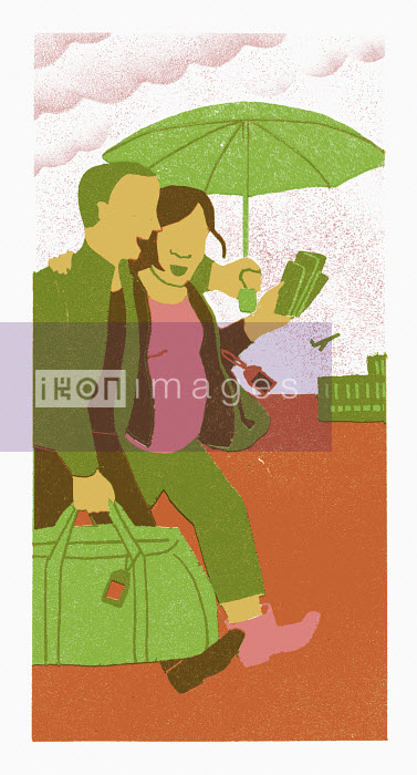 Happy traveling couple at the airport - Happy traveling couple at the airport - Sophie Casson
