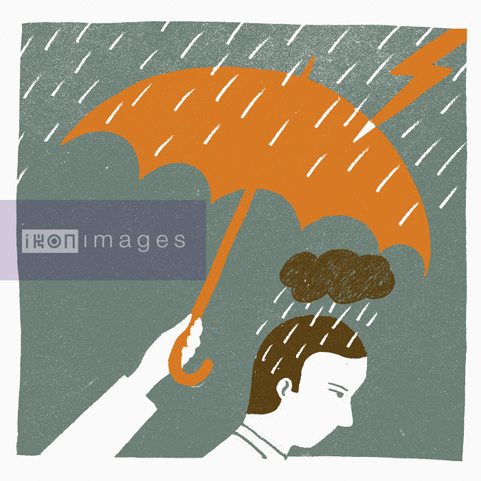 Hand with umbrella protecting sad man in rain from lightning - Hand with umbrella protecting sad man in rain from lightning - Sophie Casson