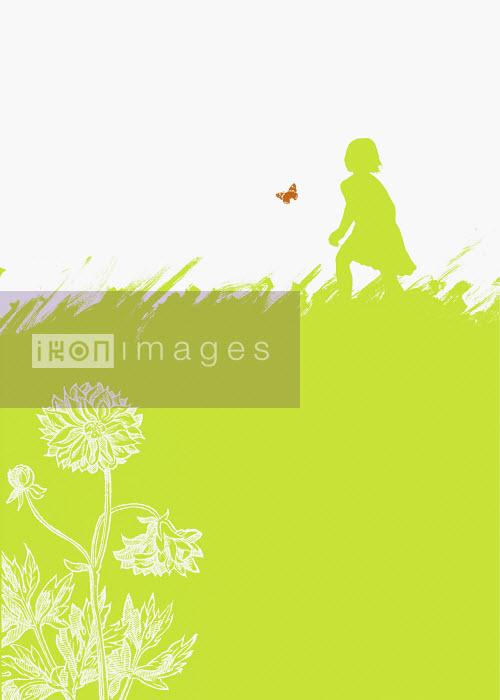Girl chasing butterfly in field - Girl chasing butterfly in field - Neil Webb