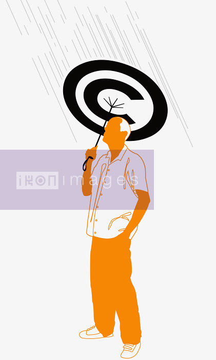 Man holding copyright umbrella - Man holding copyright umbrella - Neil Webb