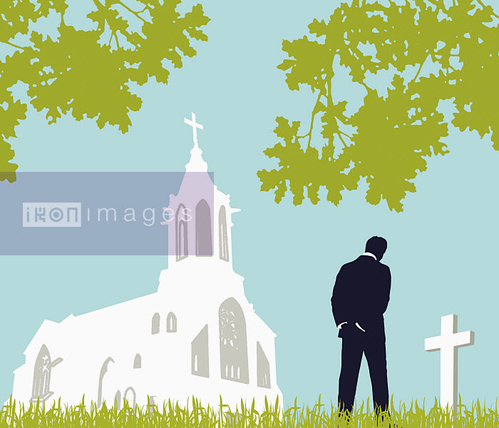 Man visiting graveyard - Man visiting graveyard - Neil Webb
