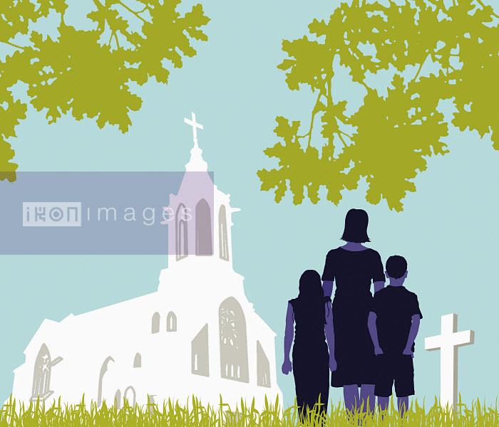 Family visiting graveyard - Family visiting graveyard - Neil Webb
