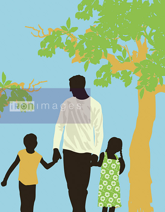 Father walking in park with children - Father walking in park with children - Neil Webb