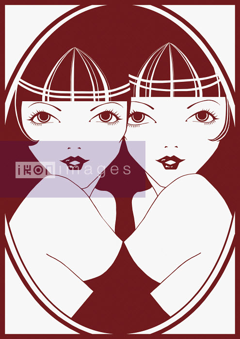 Twin women hugging - Twin women hugging - Saeko Ozaki