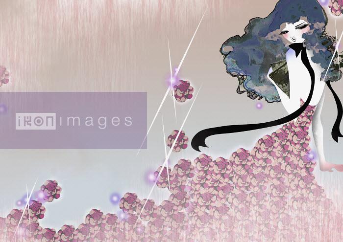 Woman in flower dress - Woman in flower dress - Saeko Ozaki