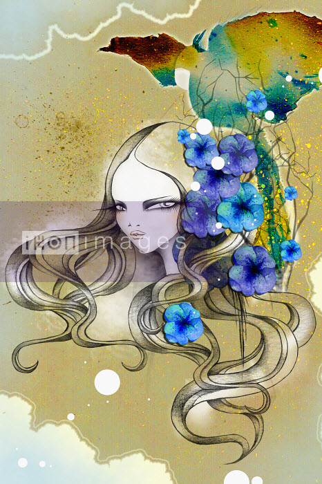 Woman with flowing long hair - Woman with flowing long hair - Saeko Ozaki