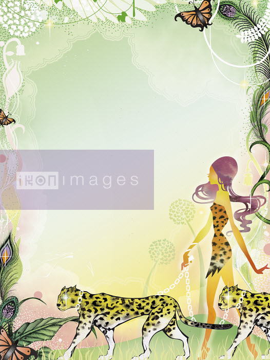 Sexy woman walking leopards in jungle - Sexy woman walking leopards in jungle - Saeko Ozaki