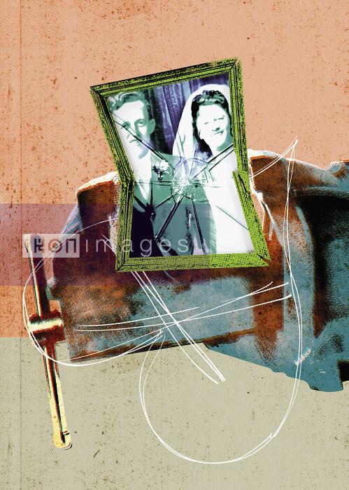Smashed wedding portrait - Smashed wedding portrait - Neil Leslie