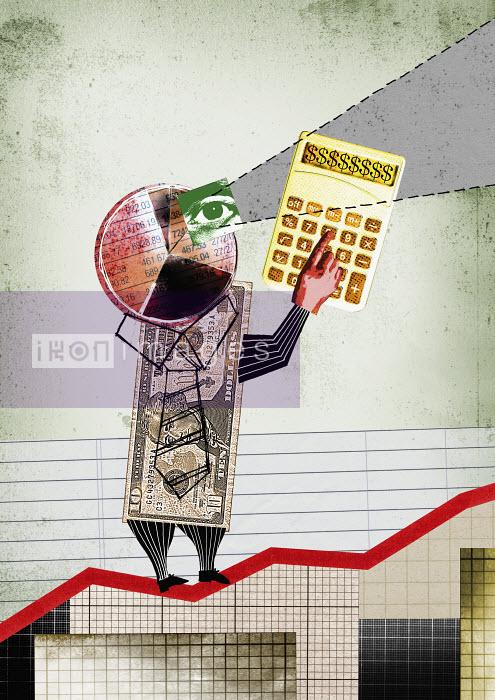 Money businessman on growth chart - Money businessman on growth chart - Neil Leslie