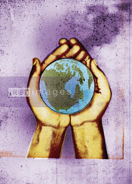 Hands holding globe - Hands holding globe - Neil Leslie