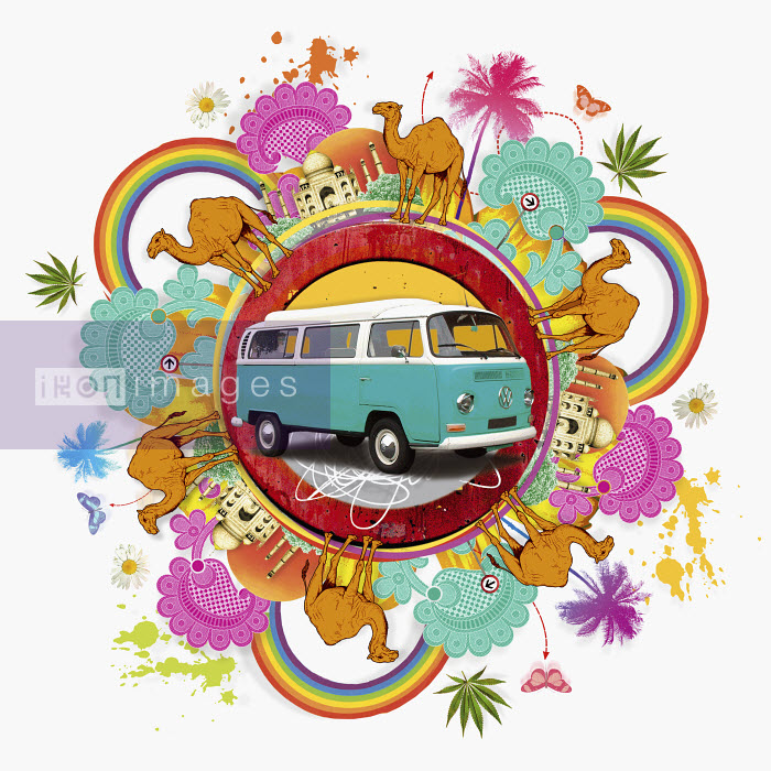 Camper van surrounded by exotic images of India - Camper van surrounded by exotic images of India - Matt Herring