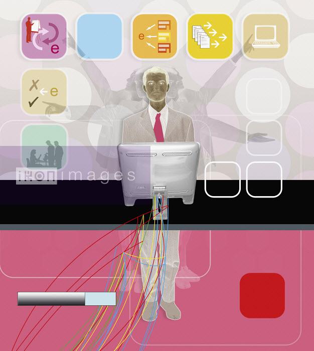 Businessman with communication collage in foreground - Businessman with communication collage in foreground - Matt Herring
