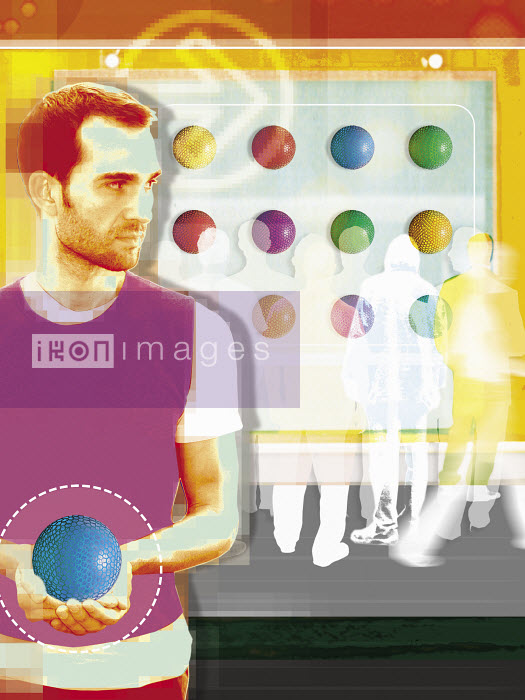 Man with ball looking back at people round ball puzzle - Man with ball looking back at people round ball puzzle - Matt Herring