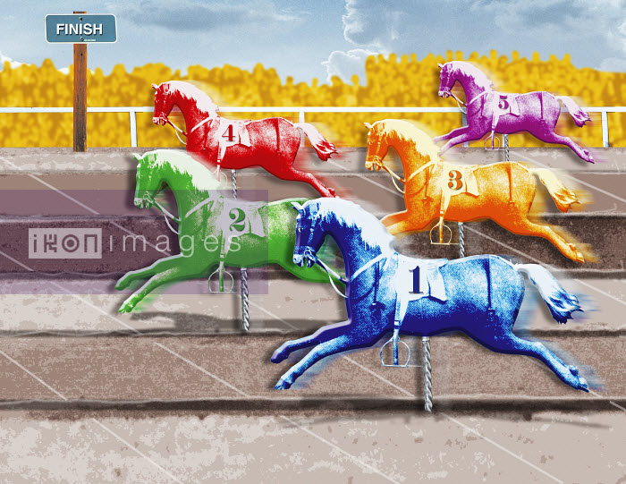 Multicolored horses crossing finish line - Multicolored horses crossing finish line - Matt Herring
