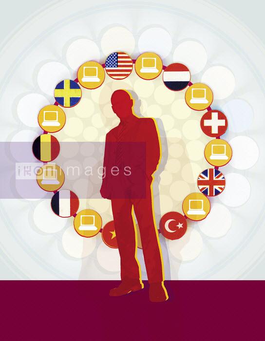 Circle of flags and computers surrounding businessman - Circle of flags and computers surrounding businessman - Matt Herring