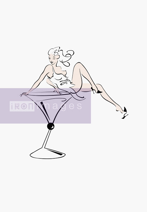 Sexy woman sitting in cocktail glass - Sexy woman sitting in cocktail glass - Conny Jude