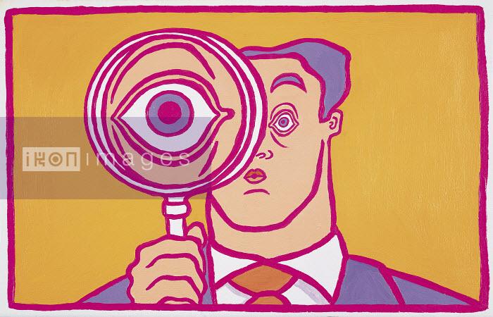 495004.TIF - Large eye of a businessman behind magnifying glass - Gary Bates