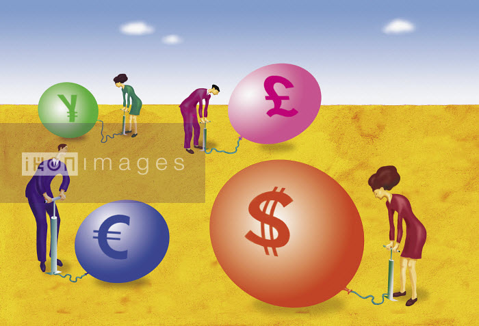 Business people inflating international currency balloons - Business people inflating international currency balloons - Gary Bates