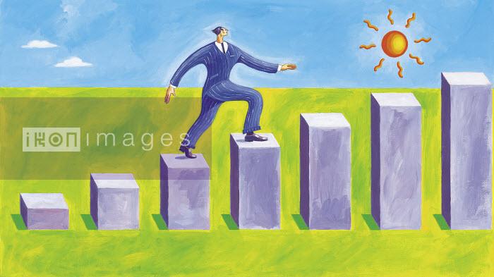 Confident businessman walking on steps of a bar chart - Confident businessman walking on steps of a bar chart - Gary Bates