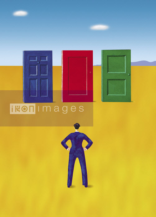 Businessman standing in front of three different doors - Businessman standing in front of three different doors - Gary Bates