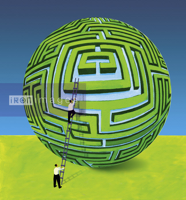 Businessman supporting colleague on ladder at spherical maze - Businessman supporting colleague on ladder at spherical maze - Gary Bates