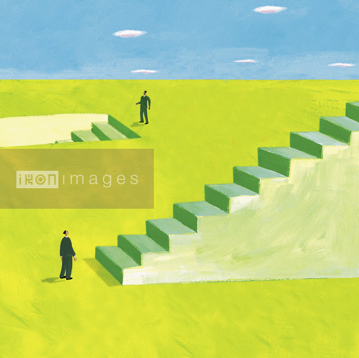Two businessmen standing at stairs going upwards and downwards - Two businessmen standing at stairs going upwards and downwards - Gary Bates