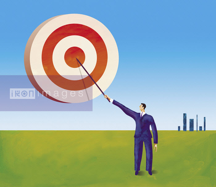 Businessman painting target in the sky - Businessman painting target in the sky - Gary Bates