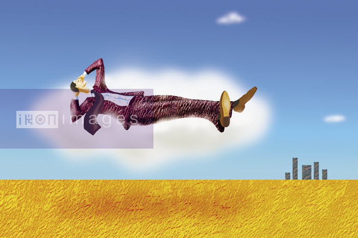 Relaxed businessman floating in the sky - Relaxed businessman floating in the sky - Gary Bates